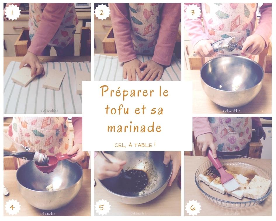 étapes pour préparer le tofu et sa marinade