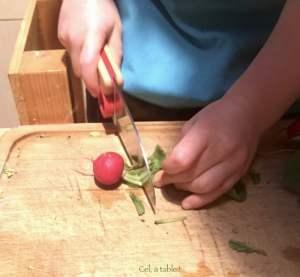 couper les tiges des radis