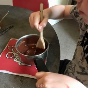 mélanger le chocolat fondu