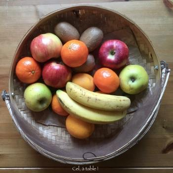 corbeille de fruits colorées