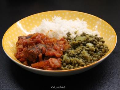 assiette rougail-riz-lentille