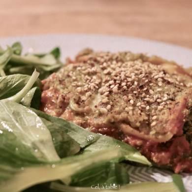 assiette de mâches et lasagnes aux blettes