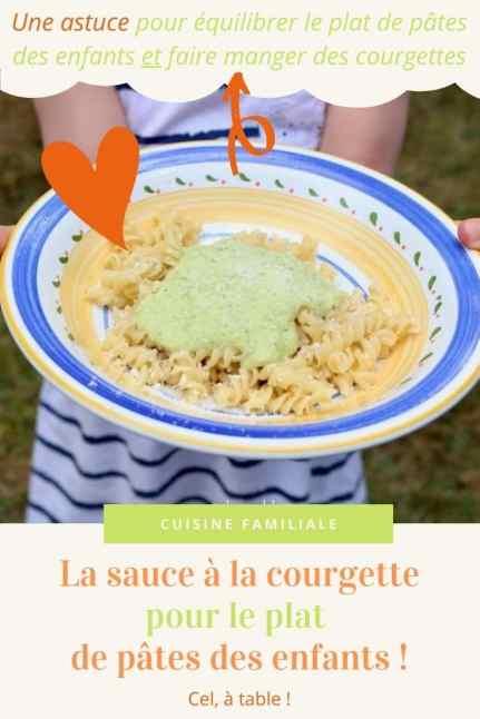 La sauce à la courgette pour le plat de pâtes des enfants