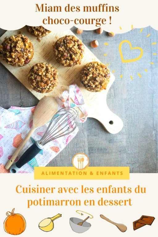 Cuisiner avec les enfants du potimarron en dessert : les muffins choco-courge