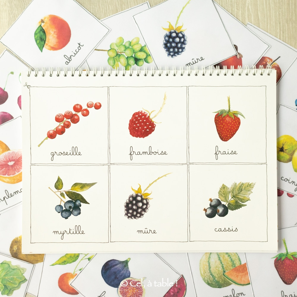 Des cartes des fruits à découper