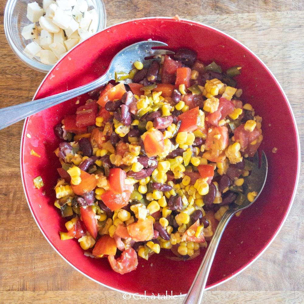 Salade composée aux haricots rouges