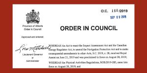 Order in Council – Alberta Court of Appeal reference on Impact Assessment Act