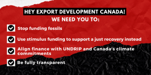 Letter to Export Development Canada regarding public financing of fossil fuels and respecting Indigenous rights