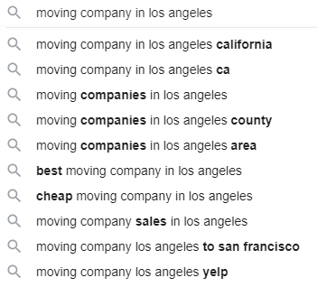 """Google autocomplete results for the search term """"moving company in los angeles"""""""