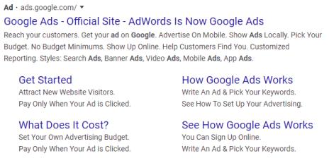 Pay-per-click Google Ads result.