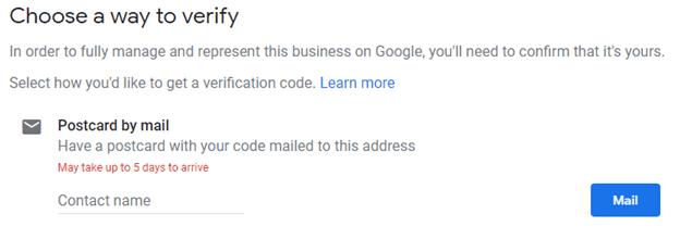 GMB choose a way to verify.