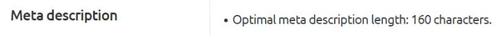 Meta description character limit on Semrush