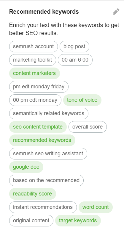 Semrush Writing Assistant SEO Recommended Keywords