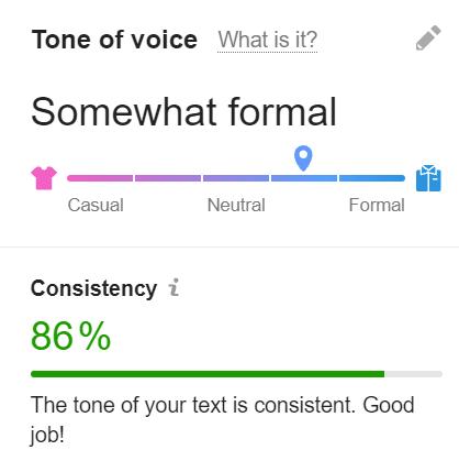 Semrush Writing Assistant Tone of Voice