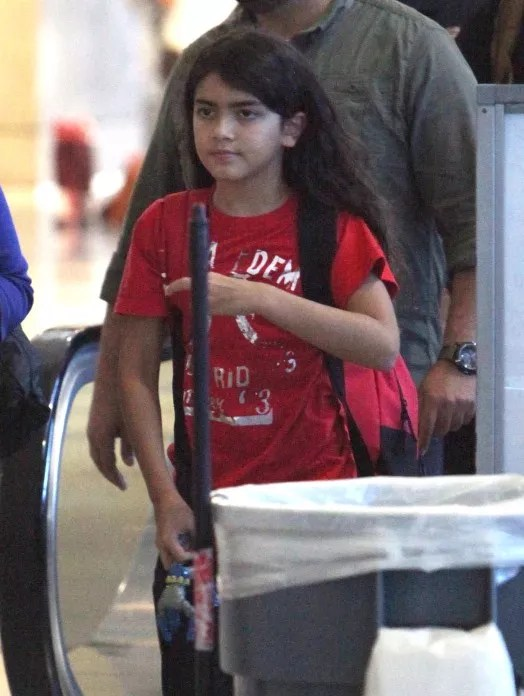 Michael Jackson's kids Prince, Paris and Blanket arriving on a flight at LAX airport in Los Angeles, California on September 2, 2012.