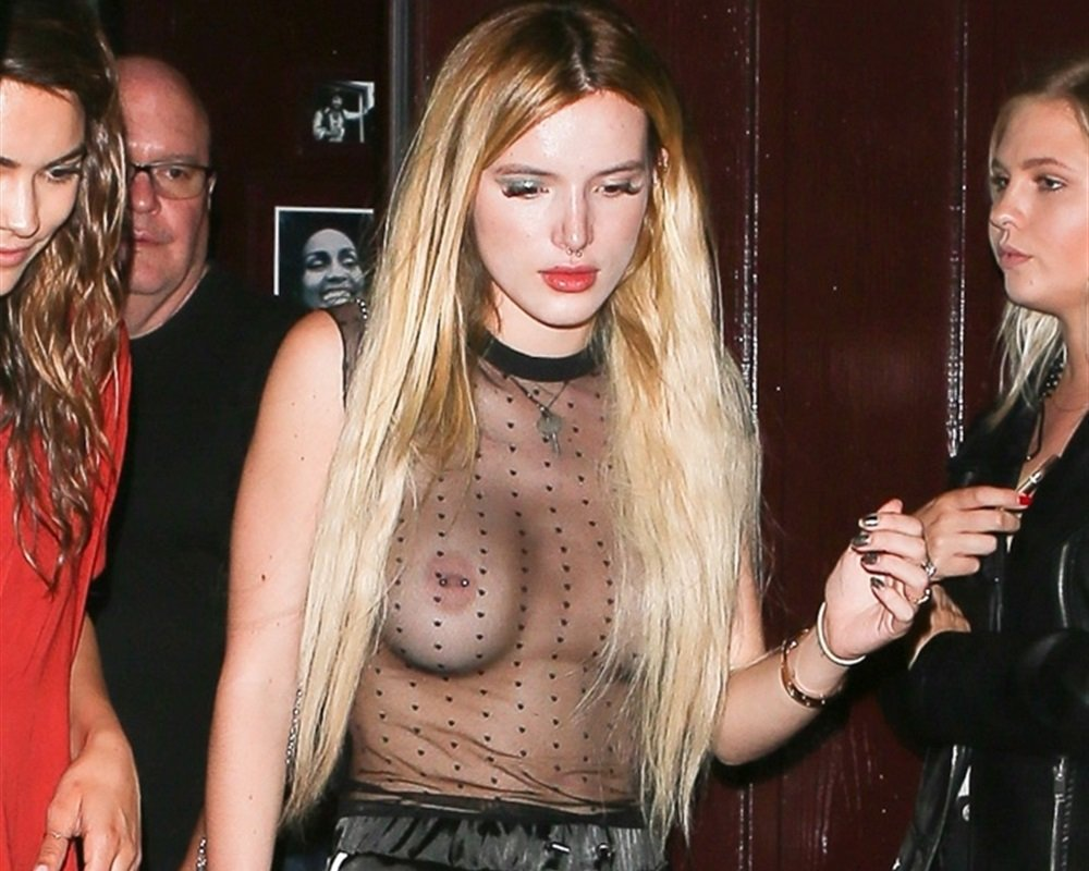 Bella Thorne With Her Boobs Out In A Completely See Thru Top