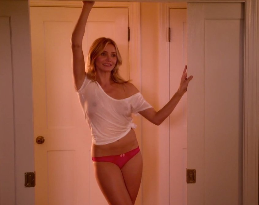 Cameron Diaz In A See Through Shirt In 'Sex Tape' Stills