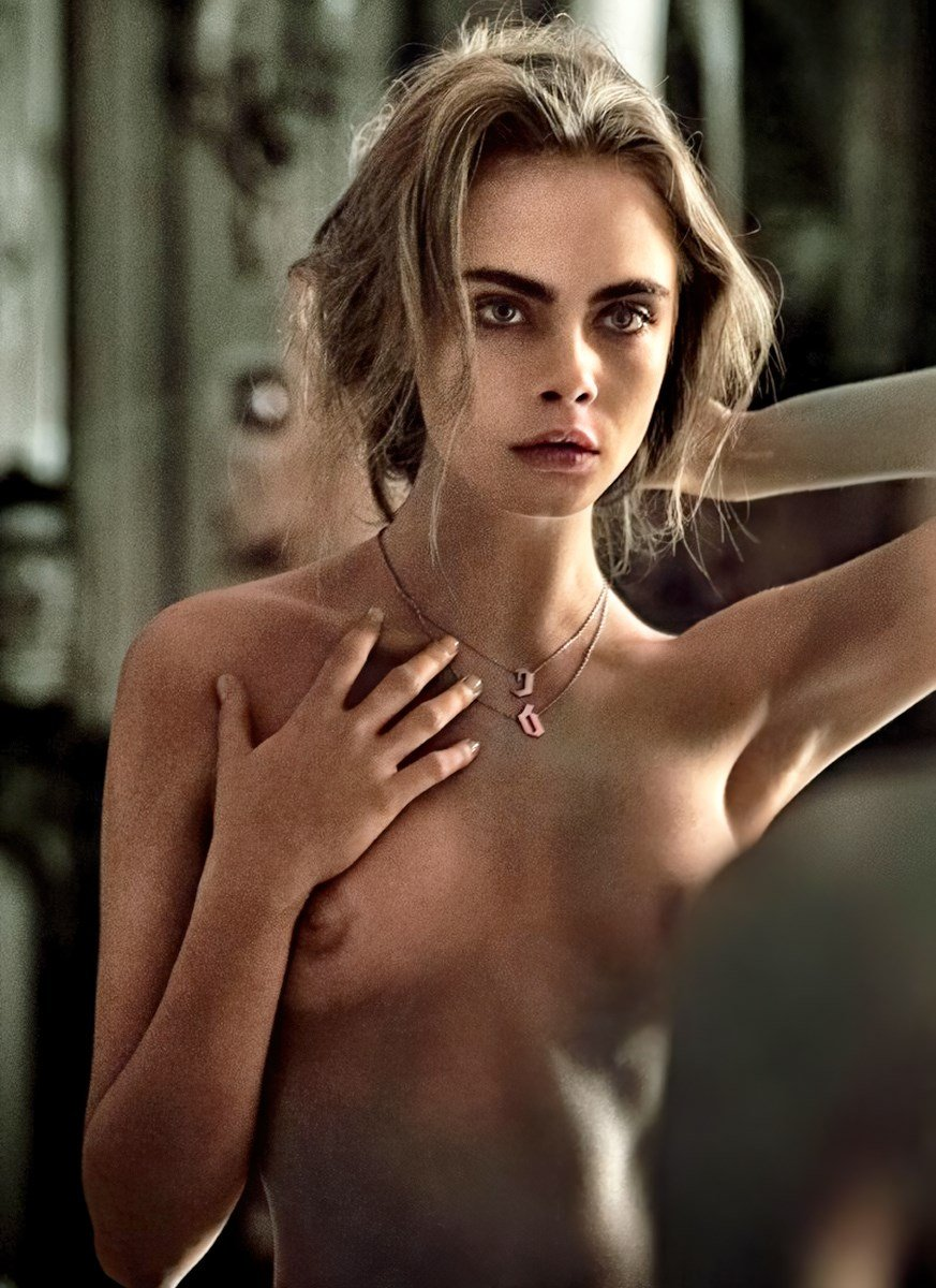 Cara Delevingne Full Frontal Nude Photo Shoot Colorized