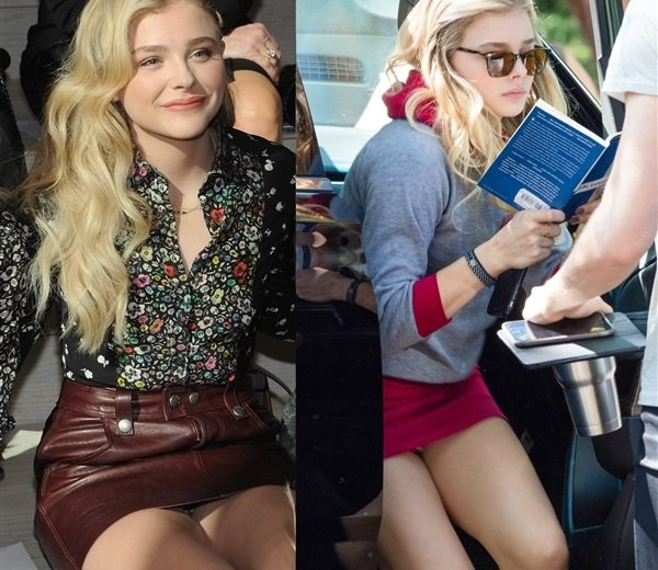 Chloe Grace Moretz Two Upskirt Panties Flashes In Two Days