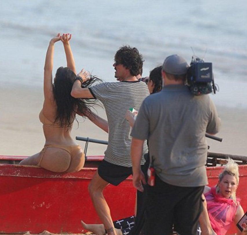 Behind The Scenes Of Kim Kardashian's Thong Bikini Photo Shoot