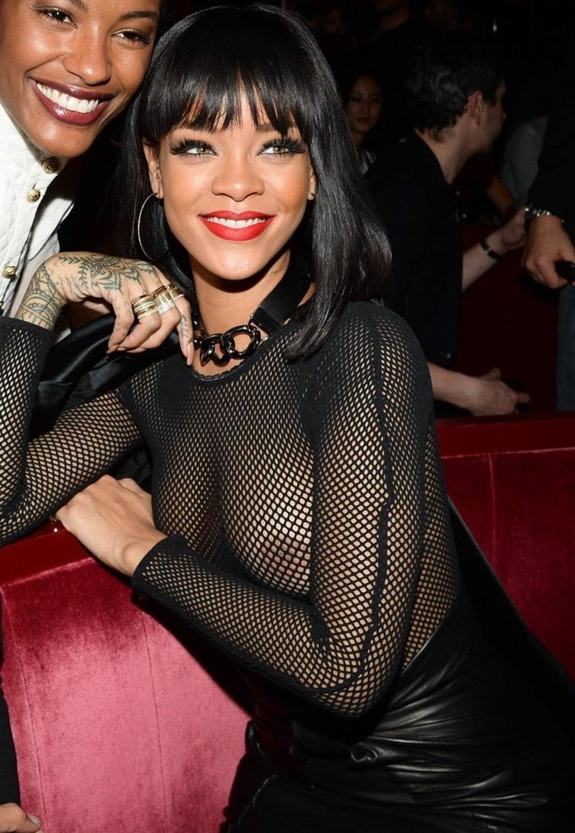 Rihanna's Tits In Fishnets At A Hollywood Orgy