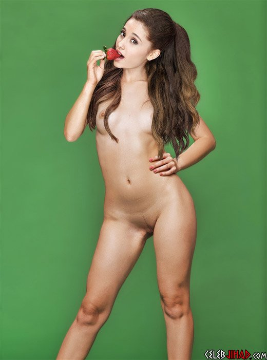 Ariana Grande Naked While Eating A Strawberry