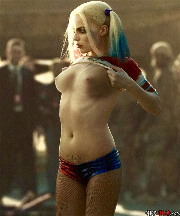 "Margot Robbie Flashes Her Tits As Harley Quinn On The Set Of ""Suicide Squad"""