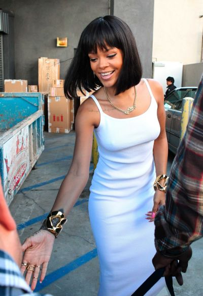 Rihanna in a White Dress at Moncler Store in Beverly Hills ...