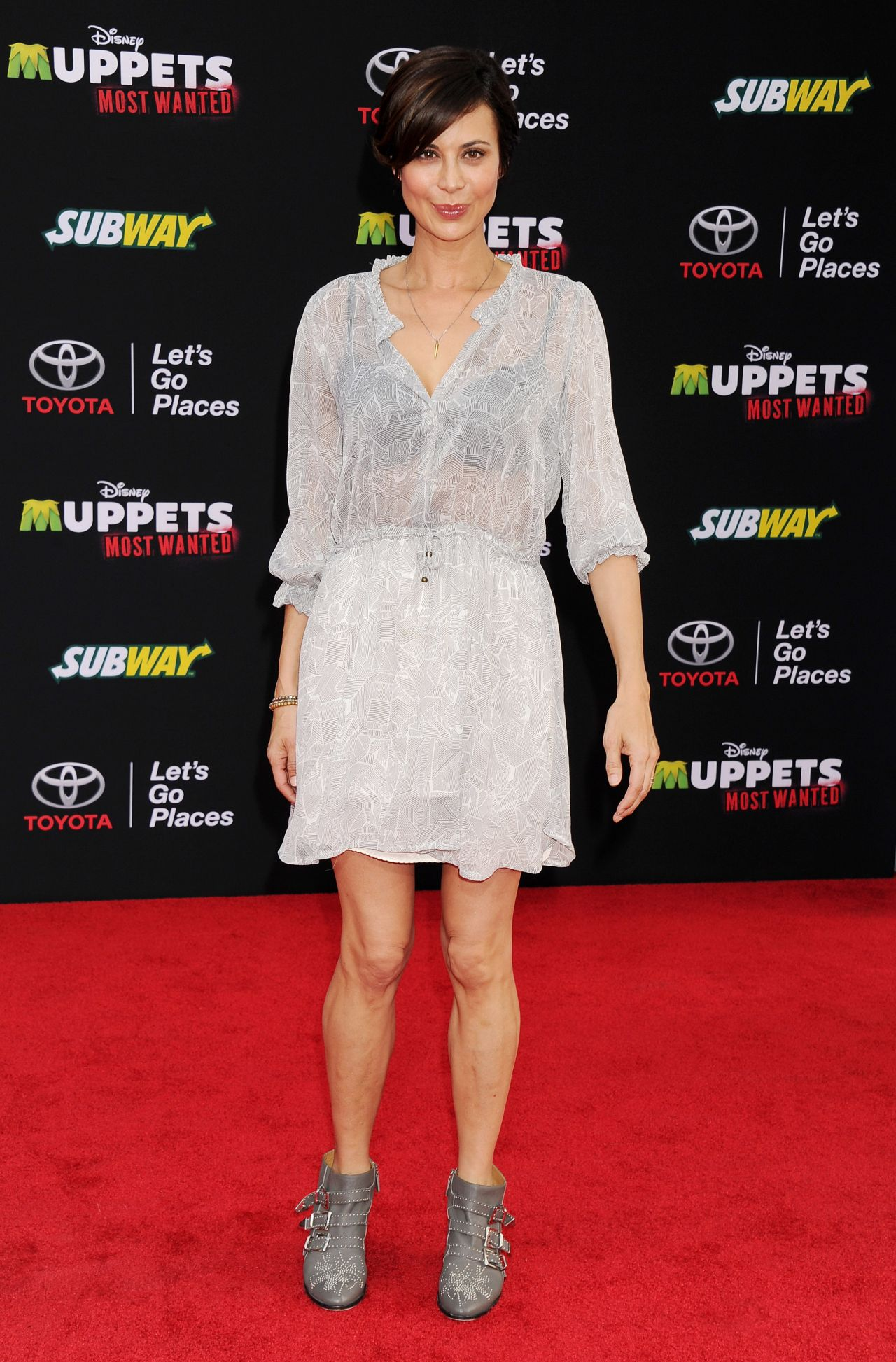 Catherine Bell Muppets Most Wanted Premiere In Los Angeles