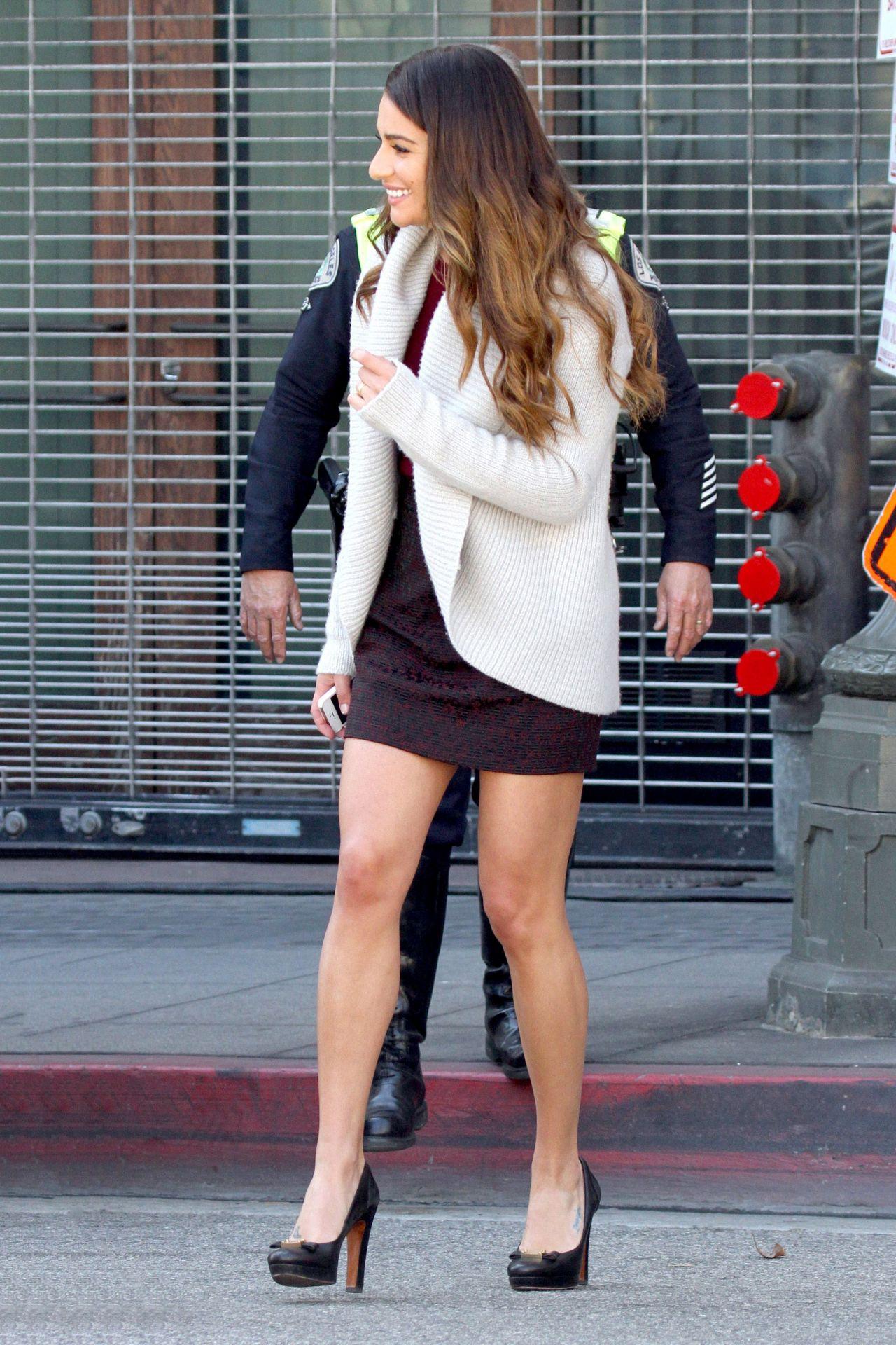 Lea Michele Glee Set Photos Los Angeles February 2014