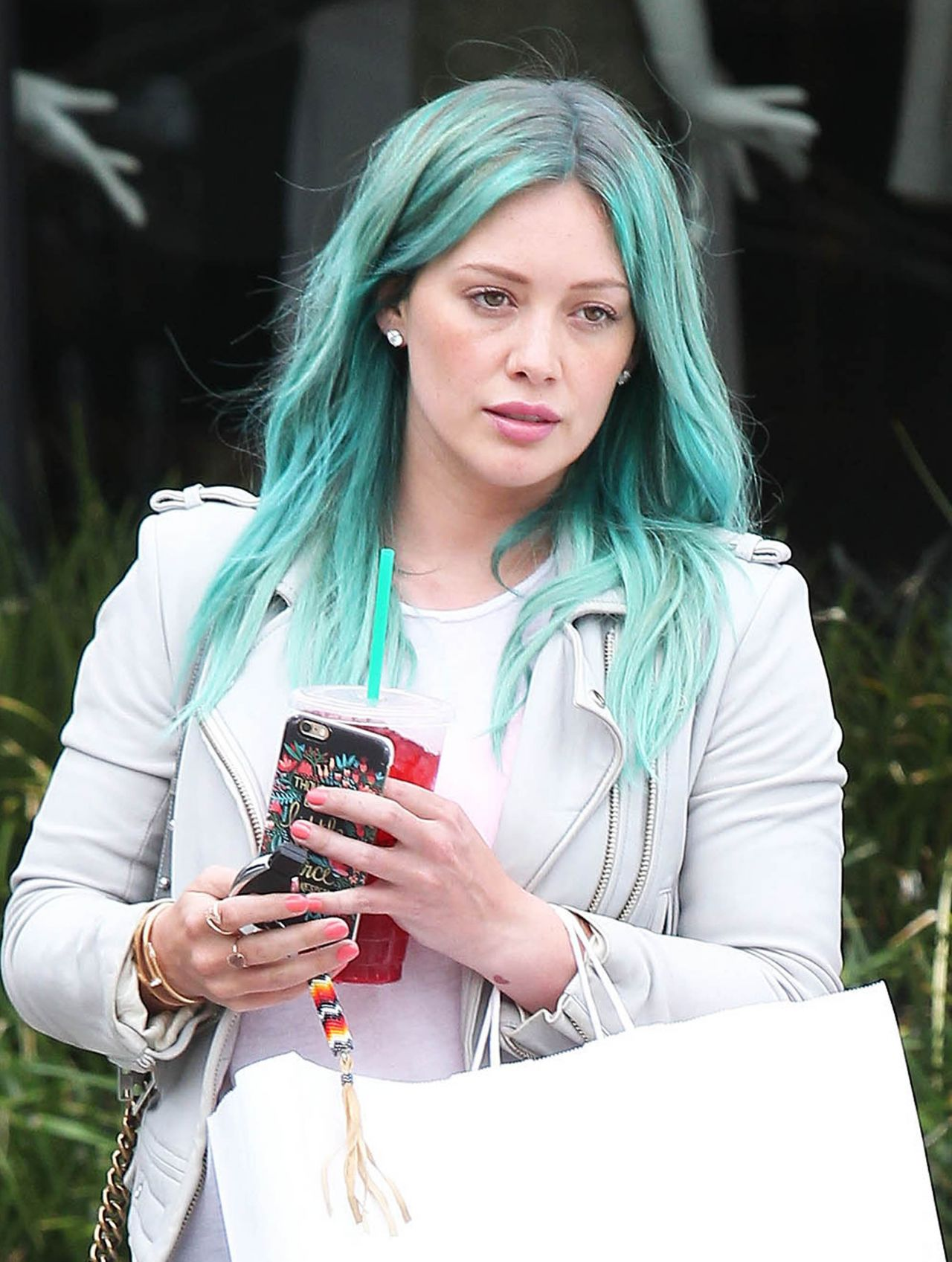 Hilary Duff Shows Off Her New Blue Hair Leaving Nine