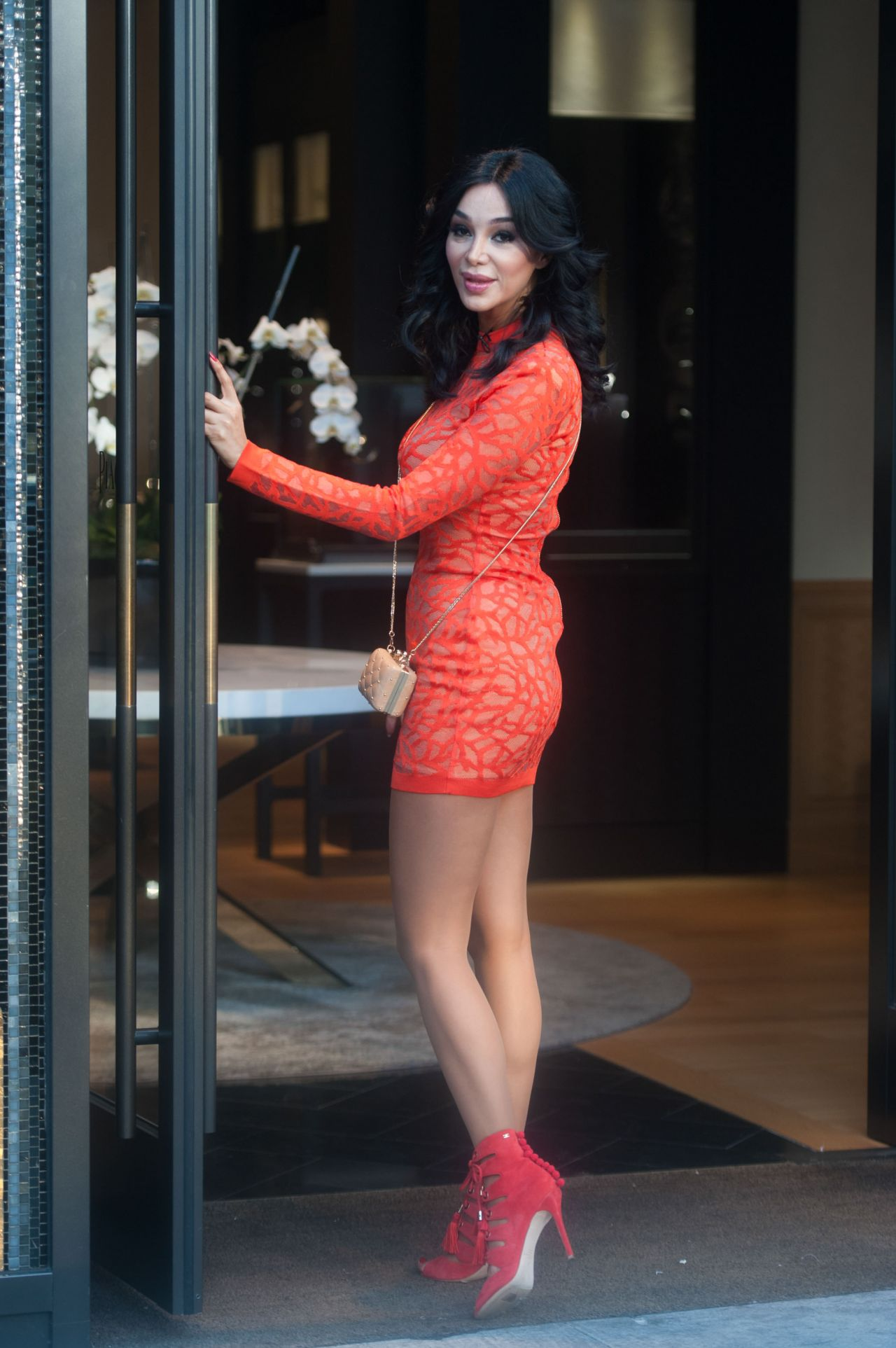 Verona Pooth In Mini Dress Out In Beverly Hills 2262016