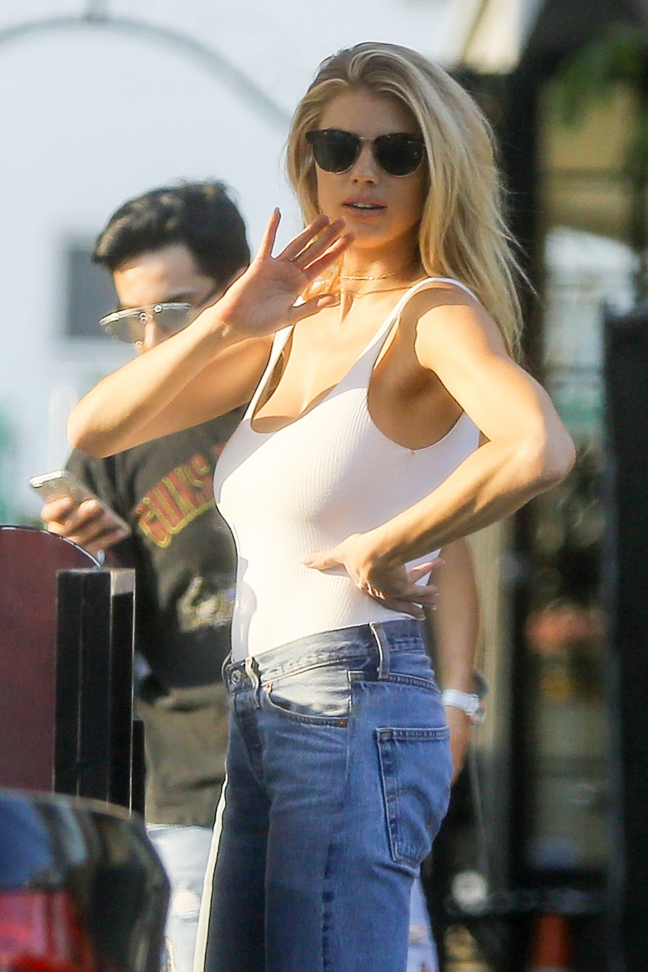 Charlotte McKinney In White Tank And Blue Jeans Shopping In West Hollywood 8242016
