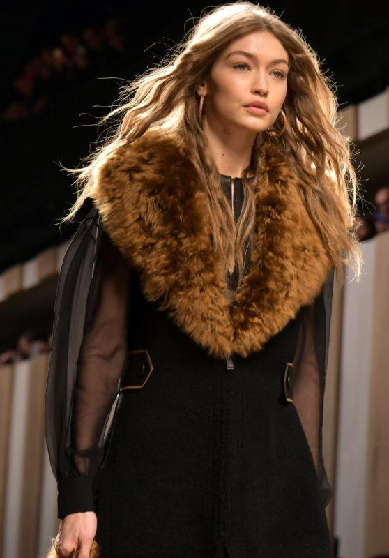 Gigi Hadid Supermodel Runway Walk at Milan Fashion Week - Fendi Show 2/23/ 2017