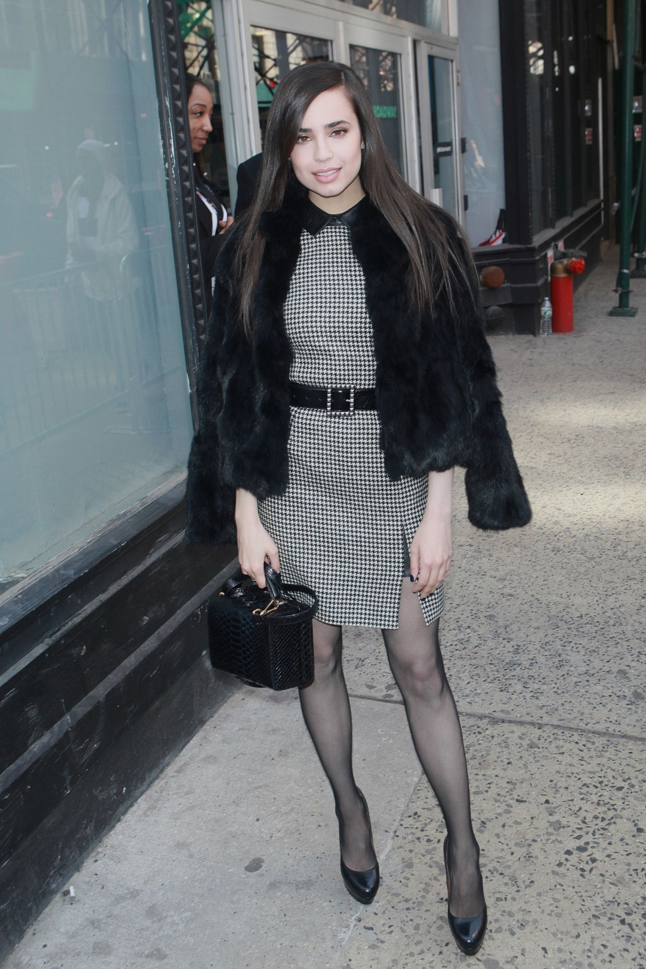 Sofia Carson Chic Outfit AOL Build Studios In NYC 3102017