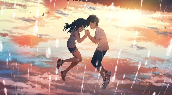 Film Still from Weathering With You, Hodaka and Hina are floating in the air with clouds around them that are lit up by the sun whilst it is raining. They are holding hands with their heads close together.
