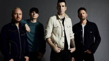Theory Of A Deadman standing for a photo shoot for the Say Nothing album