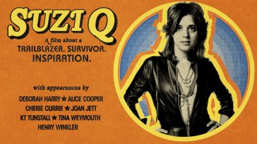 "Orange background with an image of Suzi Quatro on the right and text on the left that says ""Suzi Q - A film about a trailblazer. Survivor. Inspiration. With appearances by Deborah Harry, Alice Cooper, Cherie Currie, Joan Jett, KT Tunstall, Tina Weymouth, Henry Winkler"""