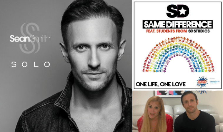 "Collage of images starting with the cover artwork of ""Solo"" by Sean Smith on the left which is black and white and sees him looking into the camera, and on the right is the cover of ""One Life, One Love"" by Same Difference which features a rainbow made out of hand prints, with Sarah Wilson and Sean Smith from Same Difference in the bottom right which is a still from the video that announced the new single."