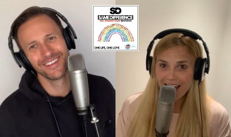 """Stills from the """"One Life, One Love"""" music video with Sean Smith from Same Difference on the left wearing a black hoodie and smiling at the camera, and Sarah Wilson from Same Difference on the right singing into the microphone"""