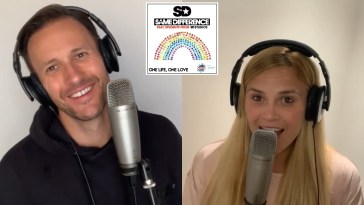 "Stills from the ""One Life, One Love"" music video with Sean Smith from Same Difference on the left wearing a black hoodie and smiling at the camera, and Sarah Wilson from Same Difference on the right singing into the microphone"