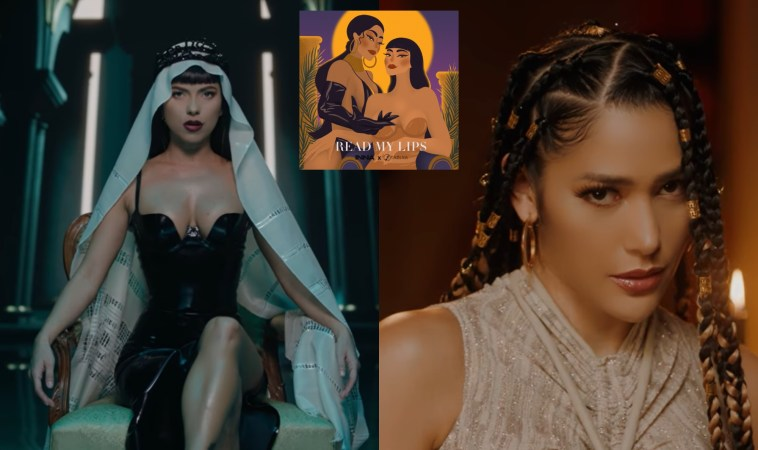 """Collage of two stills from the music video of """"Read My Lips"""" with the left image showing INNA sitting in a chair wearing a black dress and a white head scarf that flows down behind her and the right image showing Farina wearing a cream-rope designed dress with her hair in dreadlocks. And the single artwork in the middle that is an animation of the two artists."""