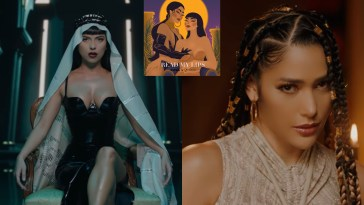 "Collage of two stills from the music video of ""Read My Lips"" with the left image showing INNA sitting in a chair wearing a black dress and a white head scarf that flows down behind her and the right image showing Farina wearing a cream-rope designed dress with her hair in dreadlocks. And the single artwork in the middle that is an animation of the two artists."