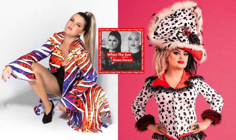 """Collage of two images with the left image showing Saara Aalto with her hair in a ponytail and she's wearing a bright multicoloured vertical stripe dress and she's crouching and the right image shows Baga Chipz in a dalmatian-inspired outfit with a hat, and the single artwork for """"When The Sun Goes Down"""" in the middle which is black and white images of the two artists with a red border."""