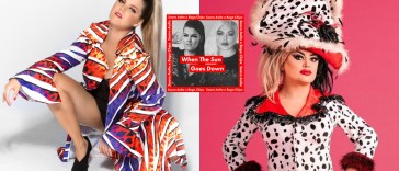 "Collage of two images with the left image showing Saara Aalto with her hair in a ponytail and she's wearing a bright multicoloured vertical stripe dress and she's crouching and the right image shows Baga Chipz in a dalmatian-inspired outfit with a hat, and the single artwork for ""When The Sun Goes Down"" in the middle which is black and white images of the two artists with a red border."