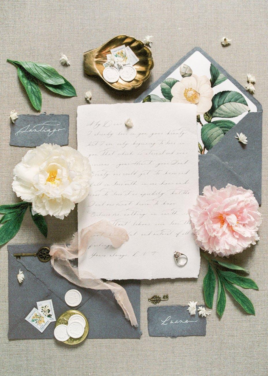 love vintage leaf letter