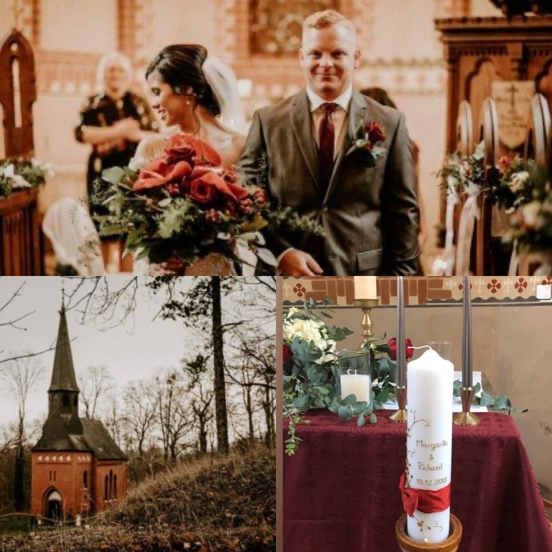 wedding couple in a chapel with a celebrant