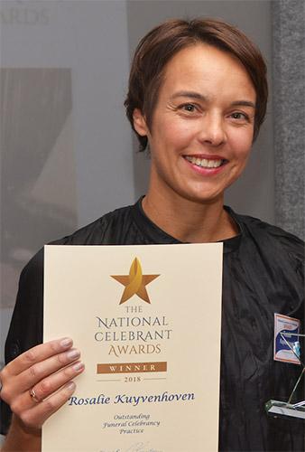Photo of Rosalie Kuyvenhoven winning her National Celebrant Award