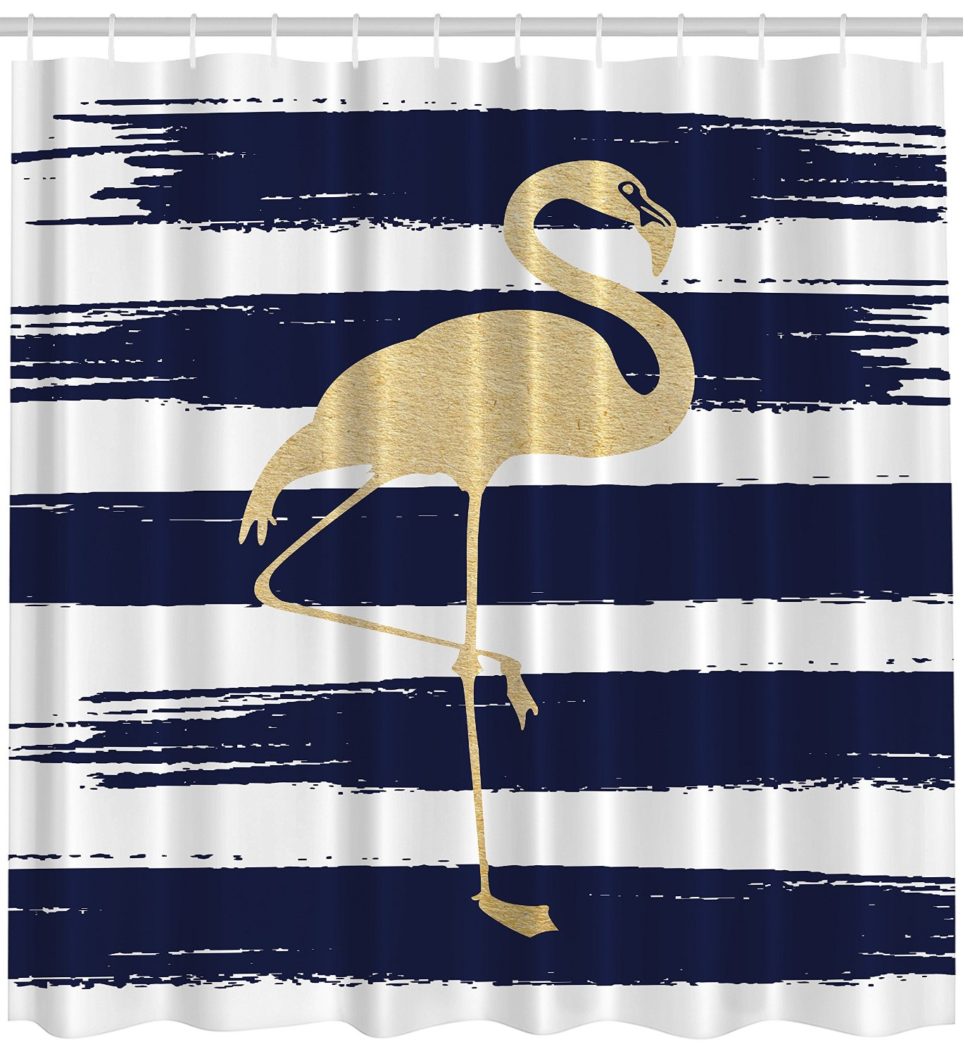 gold flamingo on a navy and white