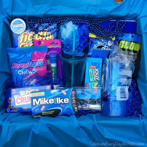 Color Themed Gifts Boxes Blue Box Mike and Ike Sweetarts Jolly Ranchers Gift Ideas